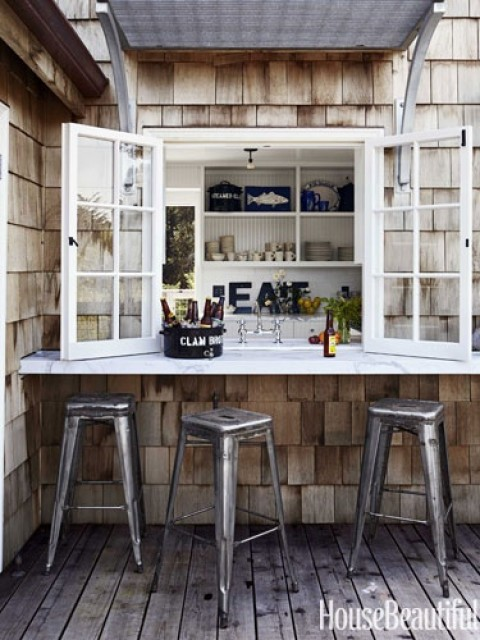 Outdoor kitchen windown l babble via HouseBeautiful