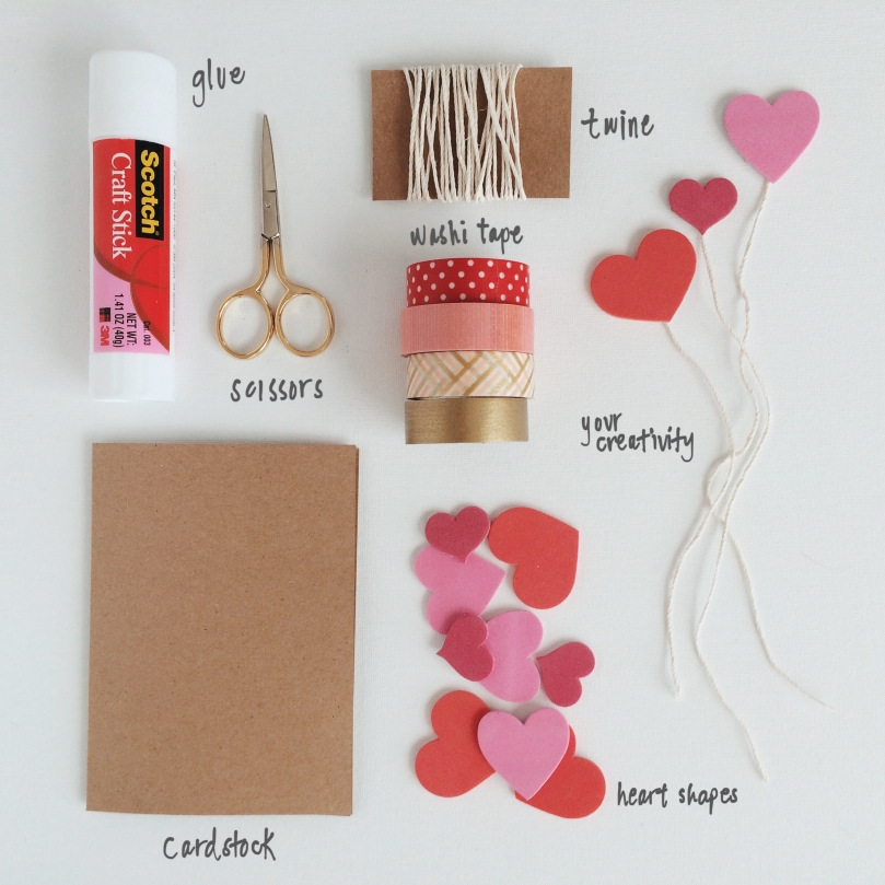 MATERIALS FOR WASHI TAPE VDAY CARDS | OUR SWEET SOMEWHERE