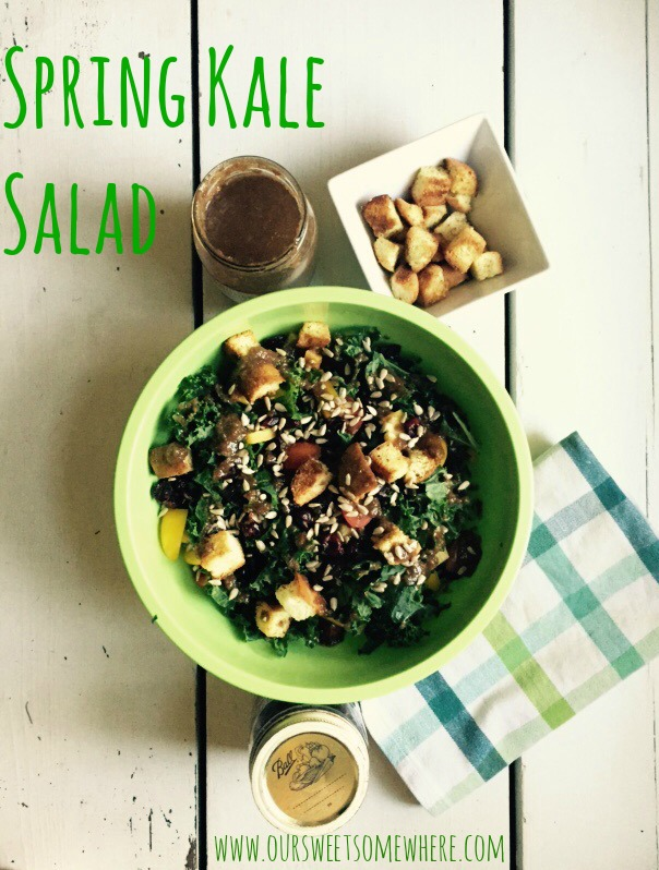 spring kale salad by our sweet somewhere